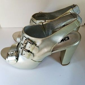 DKNY All Leather Silver Heels